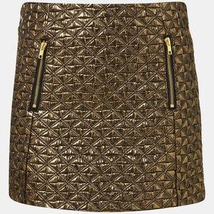 NWOT Topshop Gold Jacquard Mini Skirt Size 6